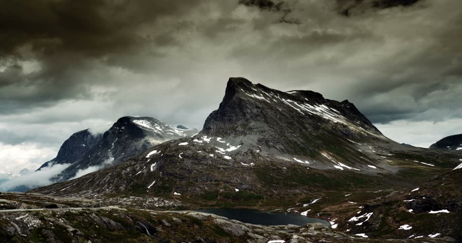 4K, Epic and dramatic time lapse of Trollstigen area in Norway
