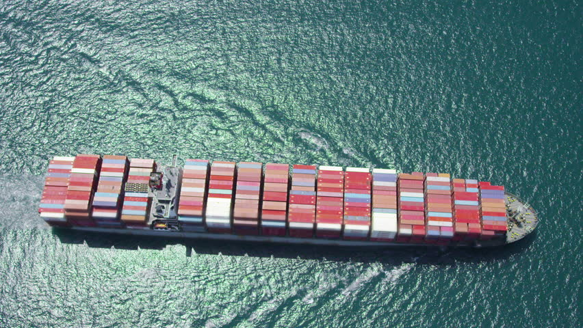 LOS ANGELES JULY 2014 - Aerial of container ship at sea near Los Angeles shipping Port. There are currently over 17 million shipping containers in the world. LOS ANGELES, USA 1 JULY 2014 EDITORIAL | Shutterstock Video #7508218