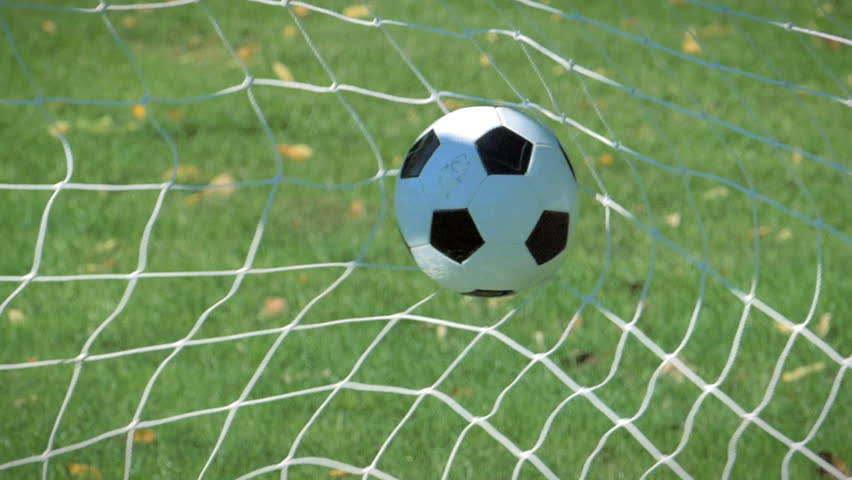 The Soccer Ball Hit Into The Net: Soccerball Stock Footage Video