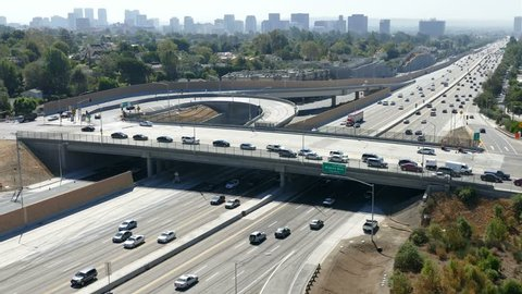 Morning traffic on the San Diego 405 Freeway Sunset Bl on ramp in Los Angeles.