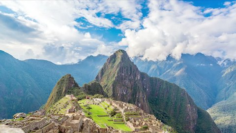 Time lapse footage of Machu Picchu with the camera panning down
