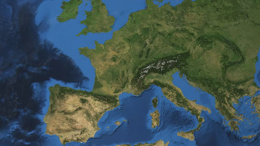 """France. 3d earth in space - zoom in on France contoured. """"Elements of this image furnished by NASA"""""""