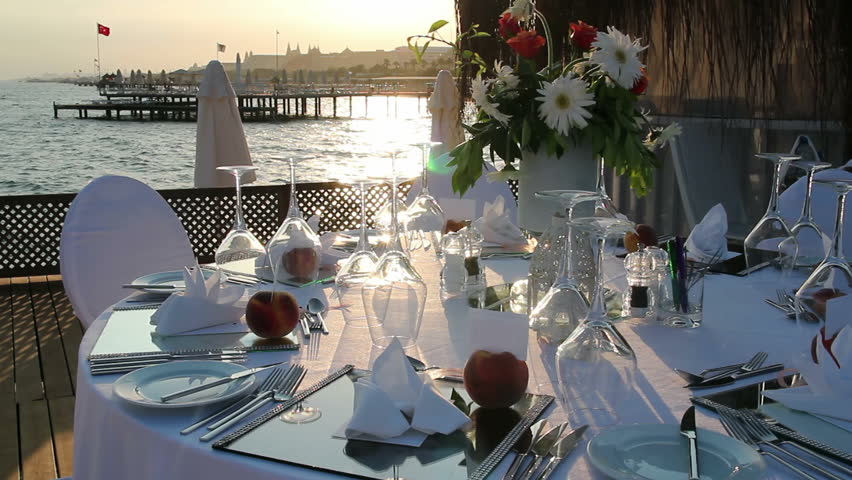 Stock video of romantic table setting on pier at | 7583542 | Shutterstock & Stock video of romantic table setting on pier at | 7583542 ...