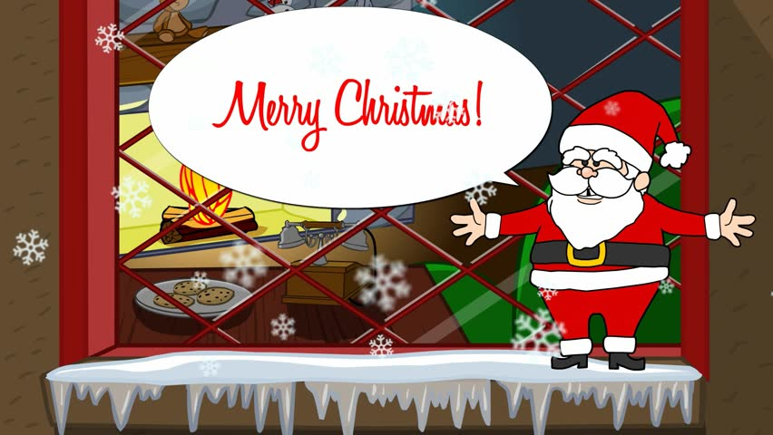 Cartoon santa claus happy new years stock footage video 7846696 a santa clause appears and wishes a merry christmas in front of a window showing the m4hsunfo Images