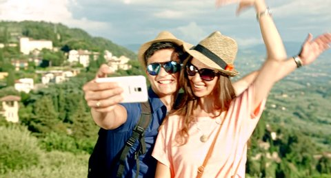 Cute Young Tourist Couple Taking Selfie Nature Landscape Outdoors Countryside Europe