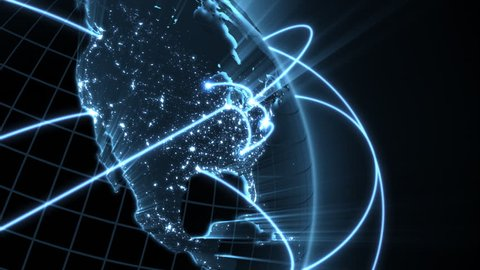 Growing Global Network  - blue version - see clip ID 1007002405 for new and improved 4K version