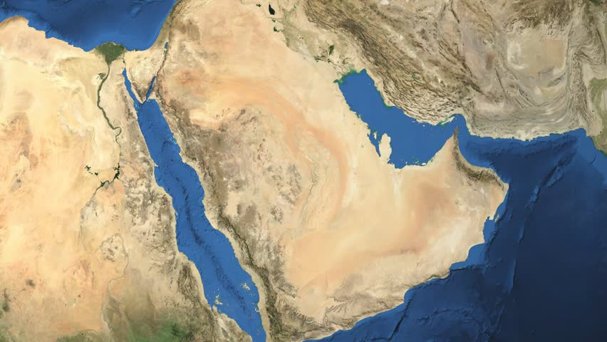 Saudi Arabia. 3d earth in space - zoom in on Saudi Arabia contoured.