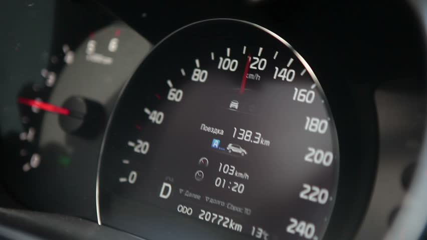 Car speedometer with 120 km/h speed
