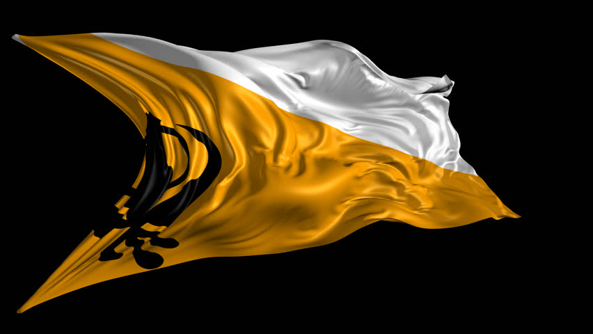 Flag Of Sikh 3D Animation Of The Old Sikh Flag With Alpha Channel ...