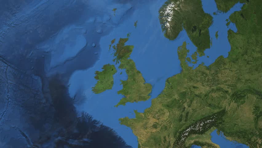 United Kingdom. 3d earth in space - zoom in on United Kingdom contoured. Great Britain. Elements of this image furnished by NASA