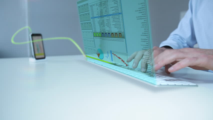 Businessman working with future laptop touch display interface | Shutterstock HD Video #763642