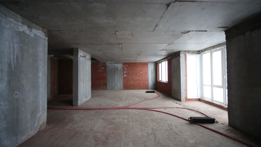 Apartment With Concrete Ceiling In Building Under Construction ...
