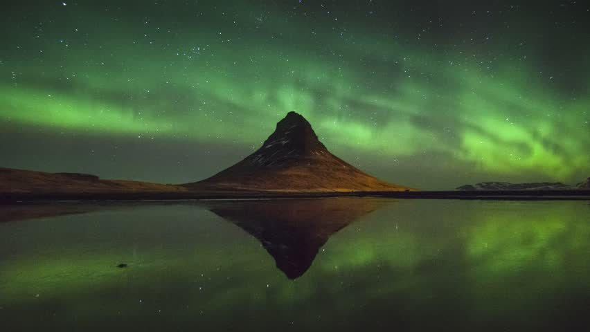 HD timelapse video of the Northern lights at Kirkjufell mountain and lake, Iceland | Shutterstock HD Video #7648042