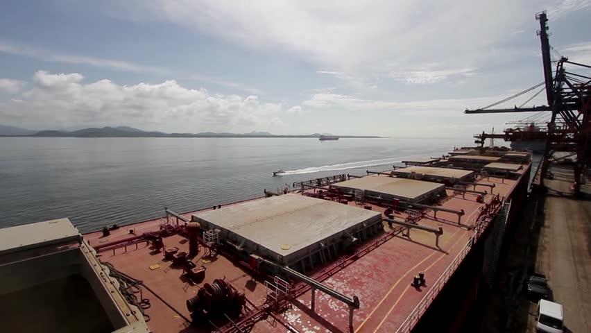 Paranagua, PR - Brazil  - View of the port of paranagua, ships unloading soybean unloading, transportation of wealth parana.