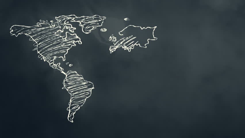 World Map Scribbling on a Chalkboard
