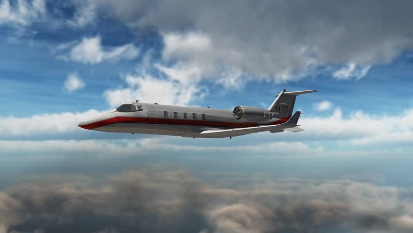 private corporate jet - luxury corporate airplane - in flight