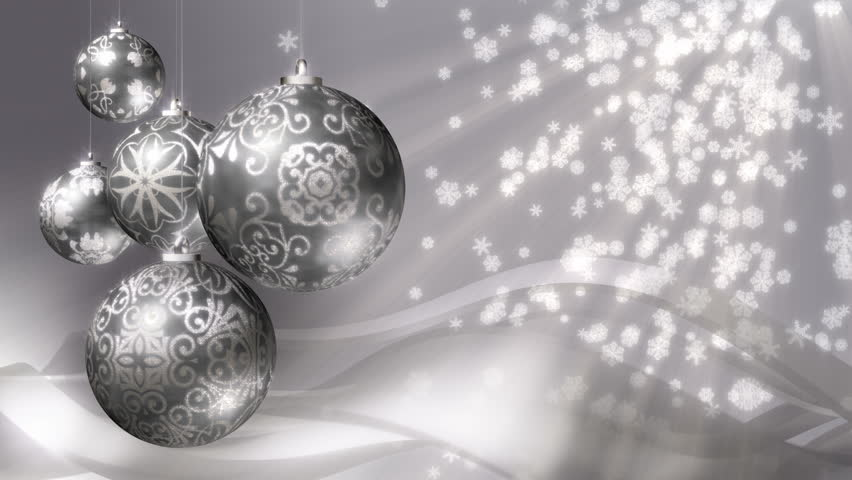 Christmas Background Loop. Rotating Silver Christmas Decorations ...