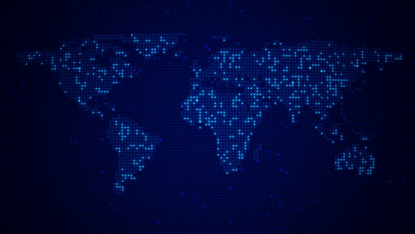Different icons form the world map silhouette on light blue digital blue world map loop five colors in portfolio hd stock video clip gumiabroncs Images