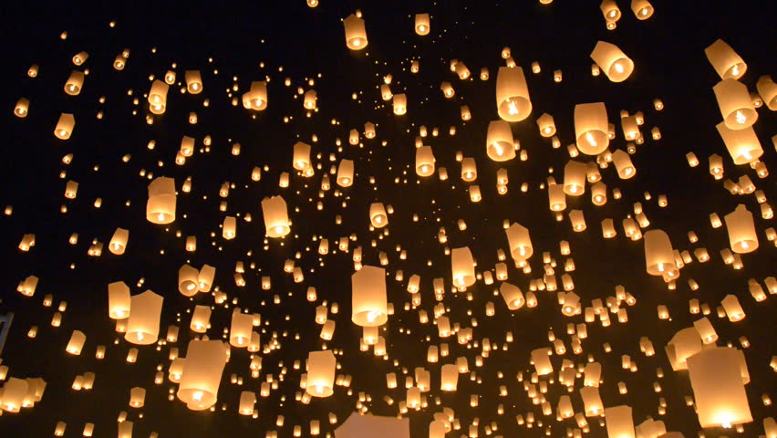 Yeepeng Sansai Floating Lantern Ceremony to pay Homage to the Lord Buddha,Chiangmai Thailand.