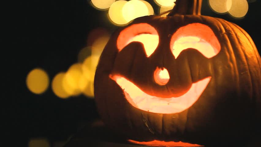 classic jack o lantern carved pumpkin halloween background hd stock video clip - Halloween Background Video