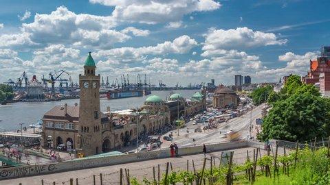 HAMBURG, GERMANY - MAY 25, 2014: St. Pauli Landing Bridges in the Port of Hamburg on may 25, 2014 in Hamburg, Germany. Timelapse 4k.