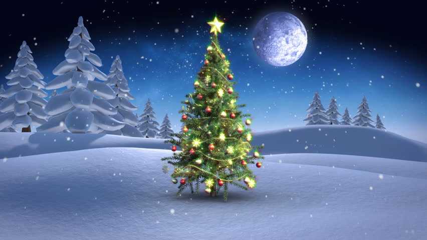 Digital animation of Christmas scene in winter setting