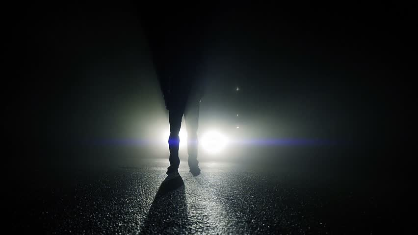 slow motion of scary mystery man walking through dark night in front of backlight beams - & Mystical Silhouette Of Man Walking Towards Camera In Dark Night ... azcodes.com
