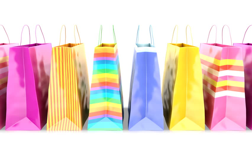 4k Shopping Bags On White Background. Loopable Stock Footage Video ...