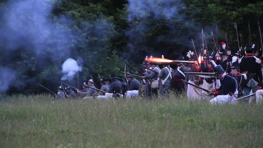STONEY CREEK, ON-JUNE 4: American soldiers (yankees) fire guns during reenactment of the war of 1812 Battle of Stoney Creek, June 4, 2010 in Stoney Creek, ON, Canada