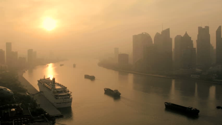 Commercial cargo barges Huangpu River city haze skyscrapers Pudong Financial District Shanghai East China Asia | Shutterstock HD Video #7812775
