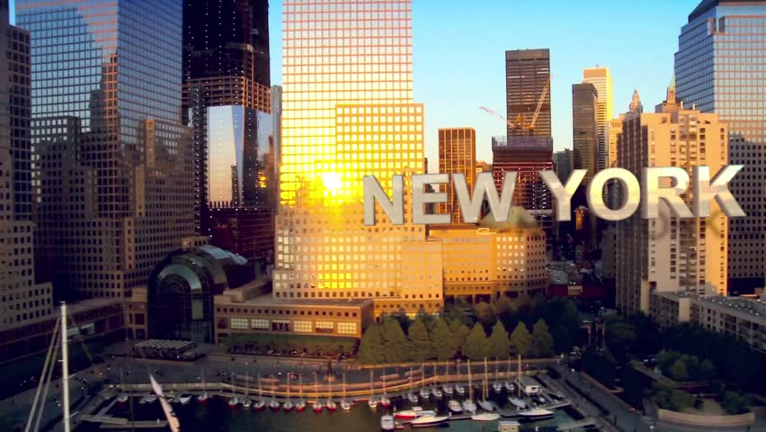 CG video montage aerial view area Manhattan New York City USA motion graphics