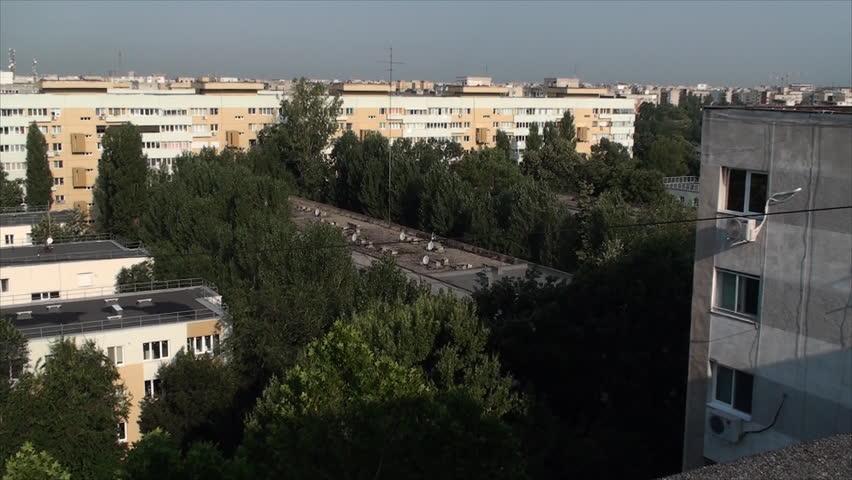 Aerial View Of Bucharest, Summer Morning, Old Apartment Buildings, Tilt | Shutterstock HD Video #7823662