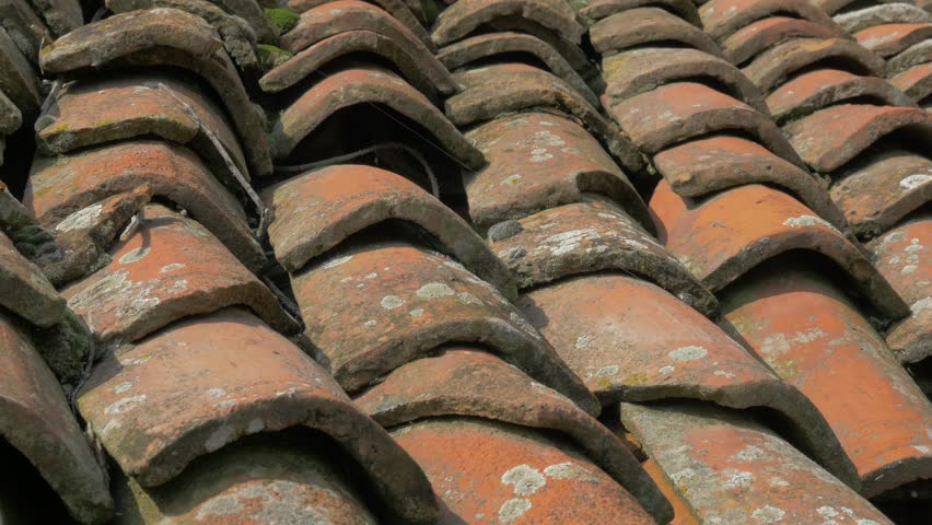 Roofing Material Made Of Clay 4K 2160p UHD Panning Footage   Roof Top Tiles  Old Material