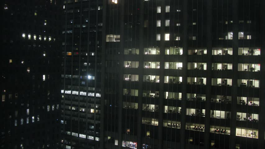 Windows Of Office Building From Night To Morning. Time Lapse Stock ...