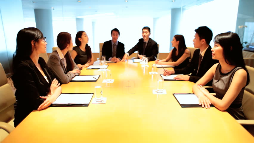 Ambitious team young ethnic Asian Chinese banking financial advisors communication colleagues video uplink technology conference boardroom | Shutterstock HD Video #7852870