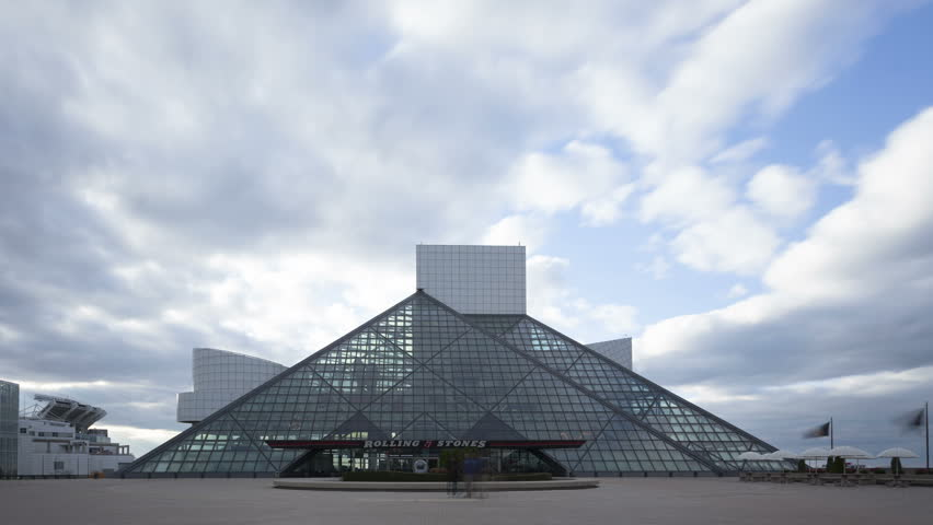 CLEVELAND, OHIO, USA - NOV 8, 2013: 4K Time lapse zoom out Rock & Roll Hall of Fame and Museum. The museum is located in a glass pyramid architecture building. | Shutterstock HD Video #7868032