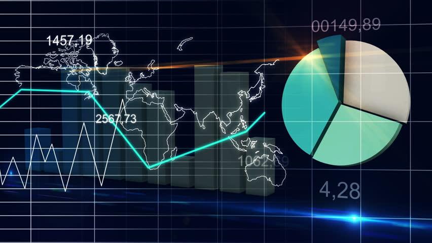 World Map Statistic Data Graph Dark Blue Loop Finance Background - 4K Ultra HD UHD | Shutterstock HD Video #7869652