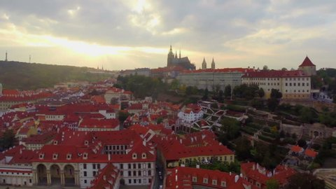 Prague Castle aerial dusk, President Residence, old red rooftops