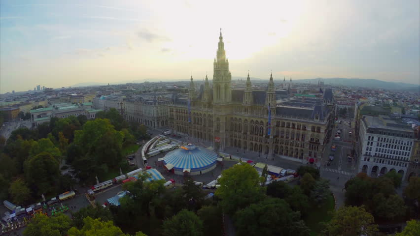 Vienna's Rauhaus aerial shot, seat of mayor and city council