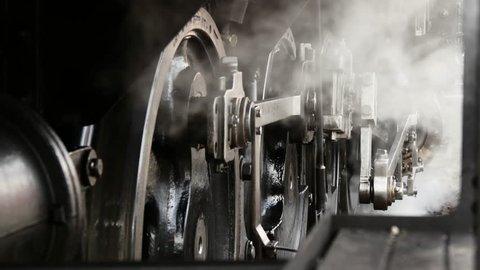 close up of locomotive wheels. steam train background