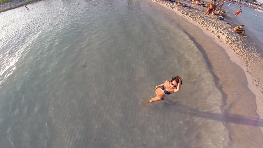 Aerial shoot on the beach in Cyprus. Sunset. September 2014
