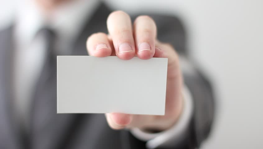 Businessman Showing Blank Business Card Stock Footage Video ...
