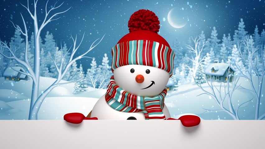 Christmas Snowman, Winter Holiday Greeting Stock Footage ...
