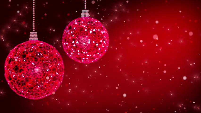 Red Christmas Balls And Glitter Particles Loop Stock