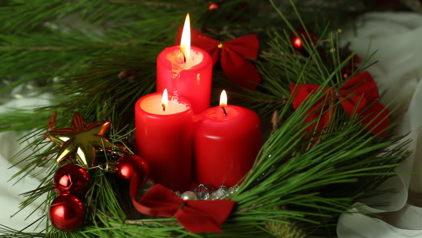 Christmas Candles.Three Christmas Candles Christmas And Stock Footage Video 100 Royalty Free 7969822 Shutterstock