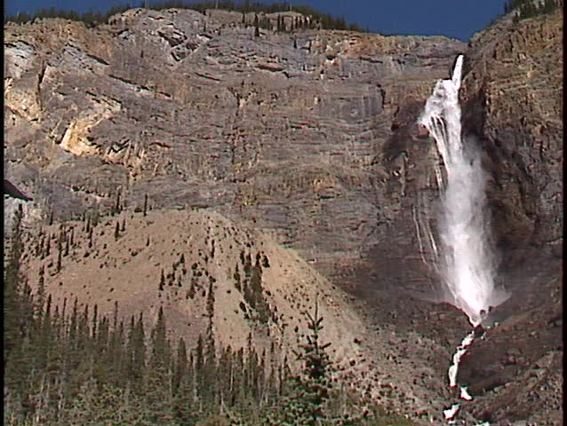 Takakkaw falls  (good audio) 384 m (1260 feet) 2nd highest in Canada