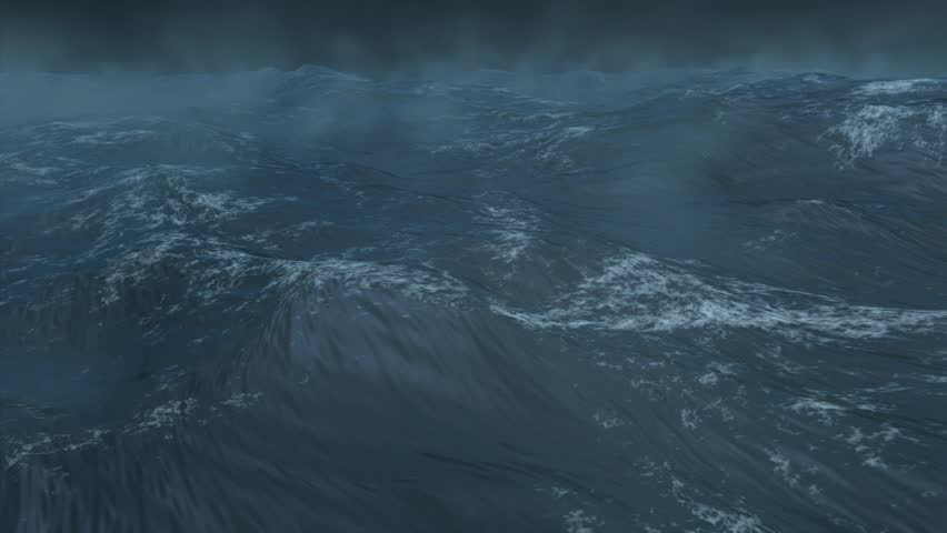 High quality 3D render of stormy ocean, extremely realistic, created using Maya and Digital Fusion.