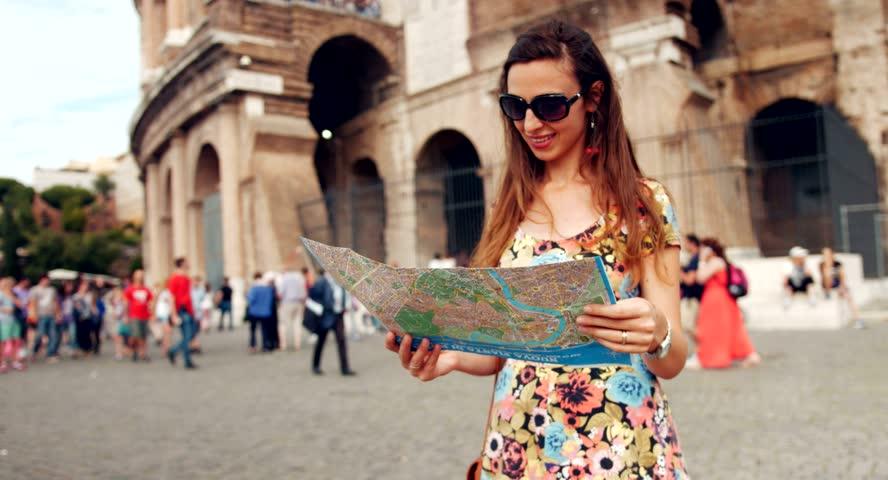 Beautiful Young Woman Stylish Dress Walking Rome Map Coliseum