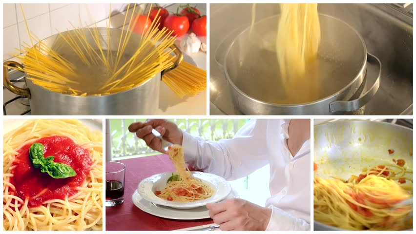 Cooking and eating italian spaghetti montage  | Shutterstock HD Video #7987672