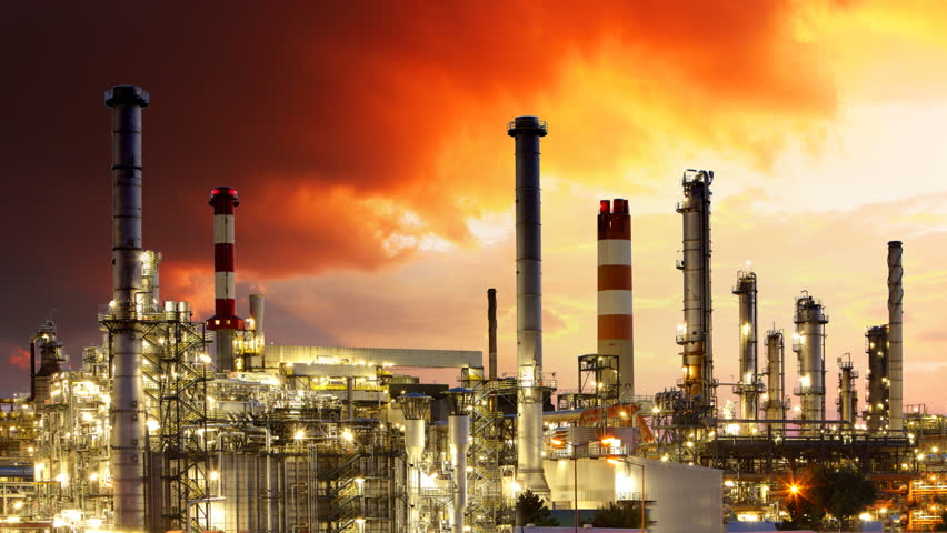 Oil Industry Refinery Plant Time Lapse Stock Footage